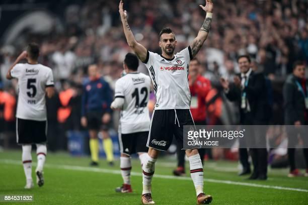 Besiktas' Spanish forward Alvaro Negredo celebrates after scoring a goal during the Turkish Super Lig football match between Besiktas and Galatasaray...