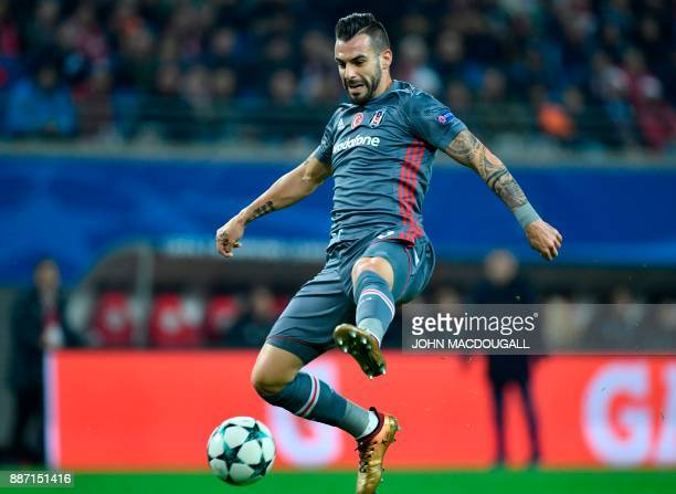 Besiktas' Spanish forward Alvaro Negredo plays the ball in front of the goal during the UEFA Champions League group G football match RB Leipzig vs...
