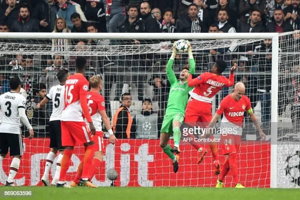 Besiktas' Spanish goalkeeper Fabricio Agosto Ramirez makes a save during the UEFA Champions League Group G football match between Besiktas and Monaco...