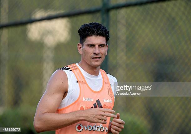 Besiktas' striker Mario Gomez takes part in the team's training session at BJK Nevzat Demir Facilities in Istanbul Turkey on August 06 2015