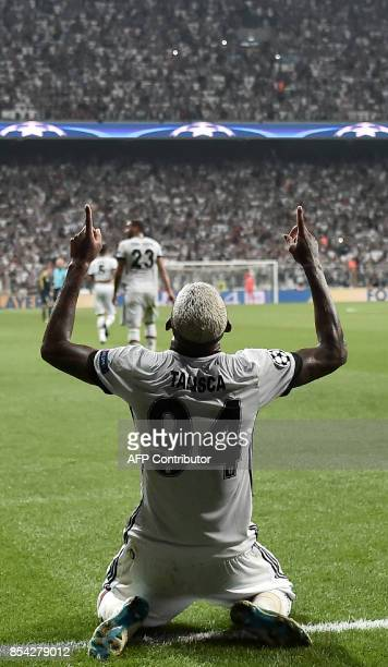 Besiktas' Talisca celebrates after scoring during the UEFA Champions League group G football match between Besiktas and RB Leipzig at Vodafone Park...