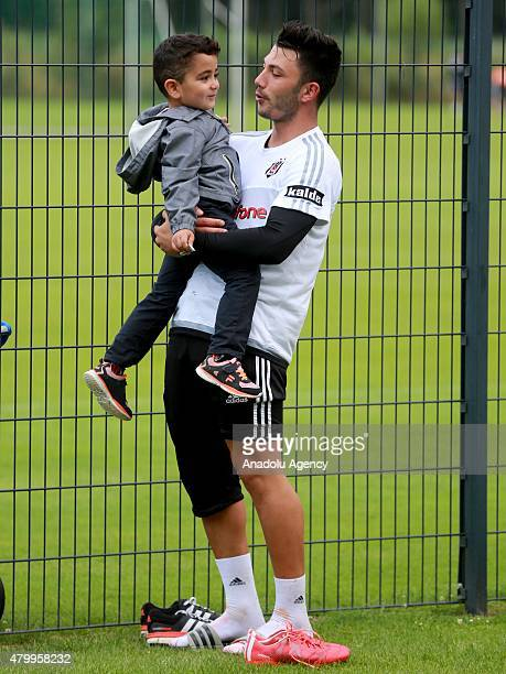 Besiktas' Tolgay Arslan is seen in a training session during their camp in Mairenfeld village in Harsewinkel city, Germany on July 8, 2015.