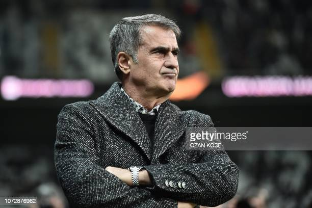 Besiktas' Turkish head coach Senol Gunes looks before the UEFA Europa League Group I football match between Besiktas JK and Malmo FF at the Vodafone...