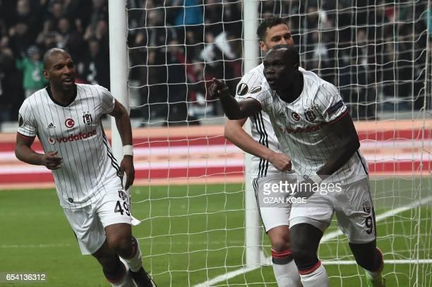 Besiktas' Vincent Aboubakar celebrates after scoring a goal during their UEFA Europa League round of 16 second leg football match between Besiktas JK...
