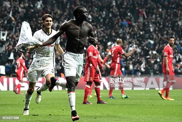 Besiktas' Vincent Aboubakar celebrates after scoring a goal during the UEFA Champions League Group B football match between Besiktas Istanbul and...
