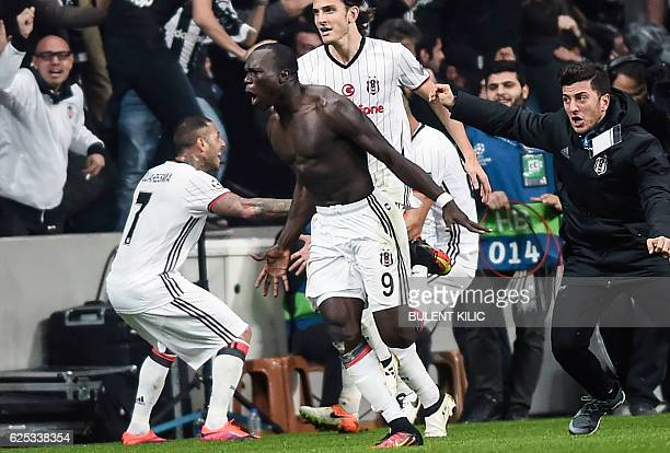 Besiktas' Vincent Aboubakar celebrates after scoring a goal during the UEFA Champions League Group B football match between Besiktas Istanbul and...