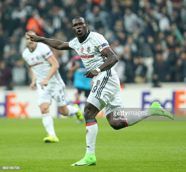 Besiktas' Vincent Aboubakar celebrates his score during Besiktas v Hapoel Beer Sheva match Uefa europa league at Vodafone Arena in stanbul Turkey on...