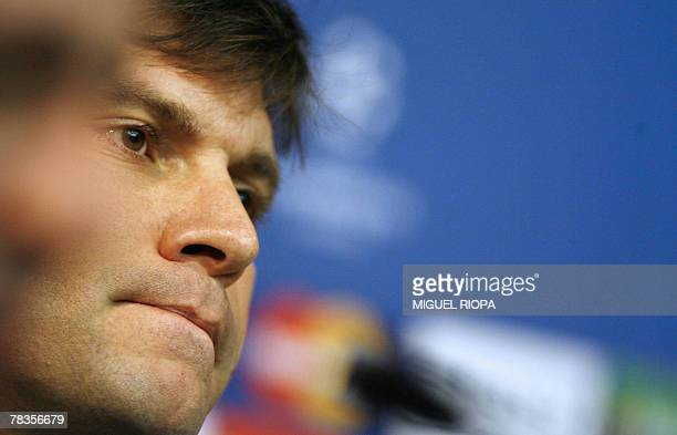 Besiktas's coach Ertugrul Saglam gives a press conference before a training session at the Dragao stadium in Porto 10 December 2007 ahead of their...