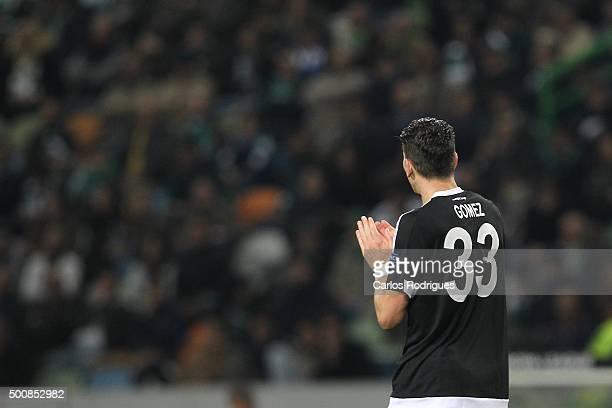 Besiktas's forward Mario Gomez celebrates scoring Besikta's goal during the match between Sporting CP and Besiktas JK for UEFA Europe League Group...