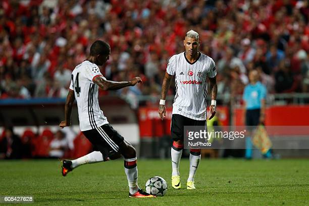Besiktas's midfielder Anderson Talisca shoots the ball to score his side's first goal during Champions League 2016/17 match between SL Benfica vs...