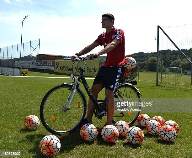 Besiktas's new transfer Mario Gomez holds a press conference at training camp in Stegersbach Austria on August 1 2015