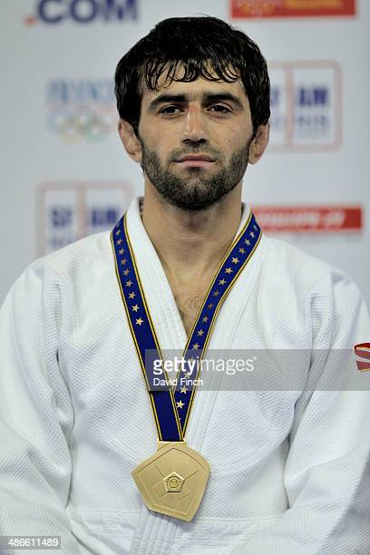 Beslan Mudranov of Russia poses after winning the u60kg gold medal during the Montpellier European Judo Championships on April 24 2014 at the...