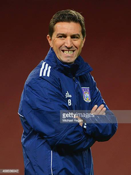 Besnik Hasi coach of Anderlecht looks on during an RSC Anderlecht training session ahead of the UEFA Champions League match against Arsenal at...