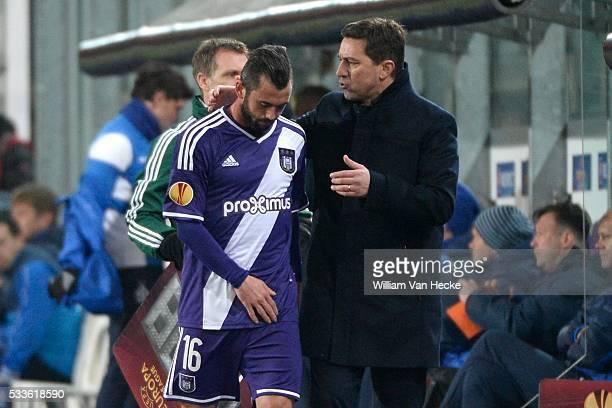 Besnik Hasi head coach of Rsc Anderlecht and Defour Steven midfielder of Rsc Anderlech during the UEFA Europa League Round of 32 first leg match...