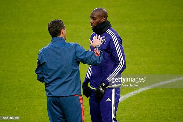 Besnik Hasi head coach of Rsc Anderlecht and Okaka Stefano forward of Rsc Anderlecht pictured during training session the day before the Europa...