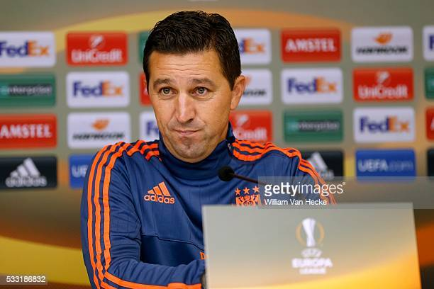 Besnik Hasi head coach of Rsc Anderlecht and Praet Dennis midfielder of Rsc Anderlecht pictured during the press conference and training session of...