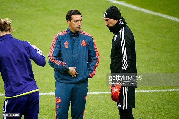 Besnik Hasi head coach of Rsc Anderlecht and Proto Silvio goalkeeper of Rsc Anderlecht pictured during training session the day before the Europa...