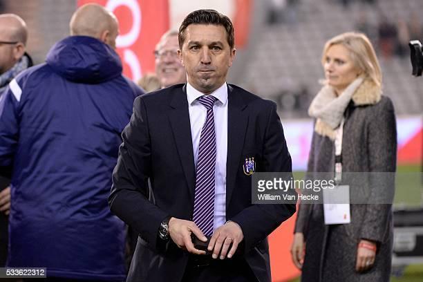 Besnik Hasi head coach of Rsc Anderlecht during the Belgian Cofidis Cup finale match between Rsc Anderlecht and Club Brugge in Brussels Belgium