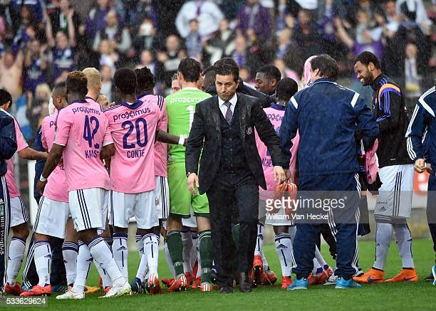 Besnik Hasi head coach of Rsc Anderlecht pictured during play off 1 of the Jupiler Pro league match between RCS Charleroi and RSC Anderlecht on 03...