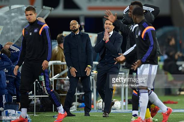 Besnik Hasi head coach of Rsc Anderlecht shows dejection during the Jupiler Pro League Play Off 1 match between KAA Gent and RSC Anderlecht in the...