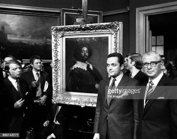 Bespectacled Mr Louis Goldenburg and Mr Alec Wildenstein of American dealer 'Wildenstein of New York' with the Velazquez portrait of Juan de Pareja...