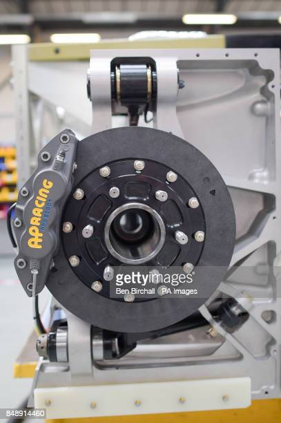 Bespoke carbon rear brakes on the BLOODHOUND SSC at the Bloodhound Technical Centre in Avonmouth as the car is prepared for testing in Newquay in...