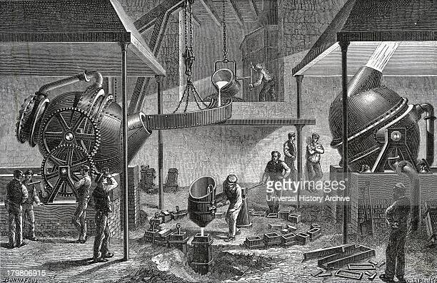 Bessemer process for massproduction of steel from pig iron converting in operation at steel works Sheffield England Engraving 1888