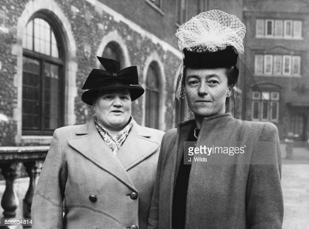 Bessie Braddock MP for the Liverpool Exchange division and Elaine Burton MP for Coventry South arrive at Church House in Westminster London for a...