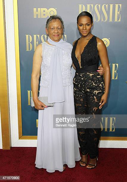 Bessie Smith's granddaughter Beverly Ann Clark and actress Tika Sumpter attend the 'Bessie' New York Screening at The Museum of Modern Art on April...