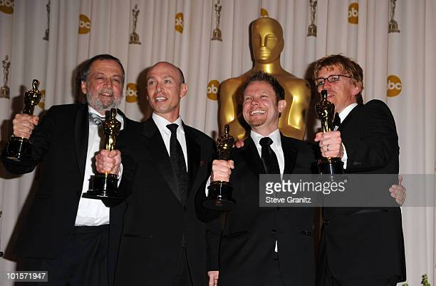 Best Achievement in Visual Effects winners Joe Letteri, Stephen Rosenbaum, Richard Baneham, and Andy Jones pose in the press room at the 82nd Annual...
