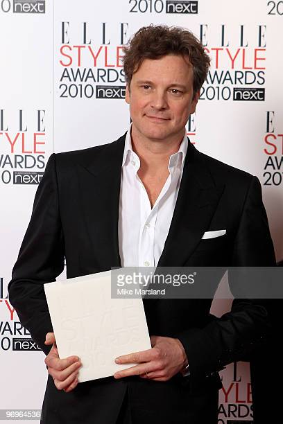 Best Actor Colin Firth poses in the Winner's room at the ELLE Style Awards 2010 at the Grand Connaught Rooms on February 22, 2010 in London, England.