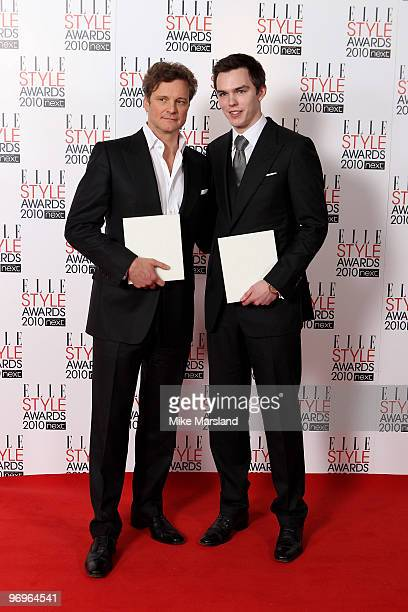 Best Actor Colin Firth poses in the Winner's room with Nicholas Hoult at the ELLE Style Awards 2010 at the Grand Connaught Rooms on February 22, 2010...