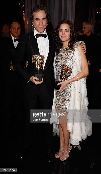 Best Actor Daniel Day Lewis and Best Actress Marion Cotillard pose in the Press Room during The Orange British Academy Film Awards 2008 at The Royal...