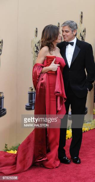 Best Actor in a Leading Role Nominee George Clooney for his role in the film 'Up in the Air' arrives with Elisabetta Canalis for the 82nd Academy...