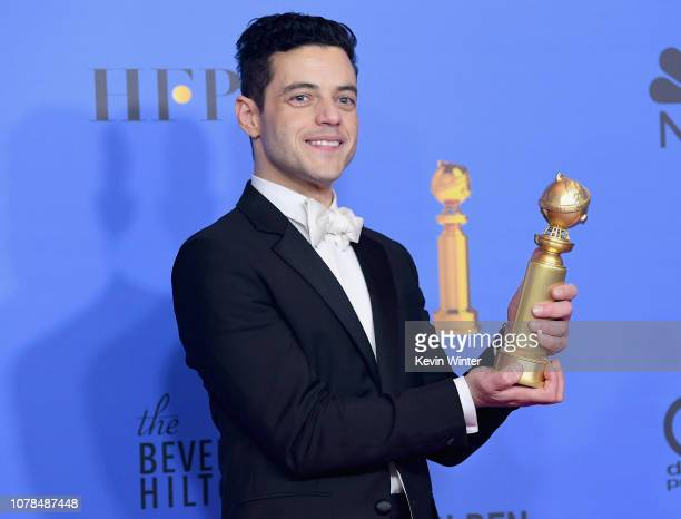 Best Actor in a Motion Picture Drama for 'Bohemian Rhapsody' winner Rami Malek poses in the press room during the 76th Annual Golden Globe Awards at...