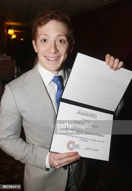 Best Actor in a Musical Spongebob The Musical winner Ethan Slater poses at the 2018 Outer Critics Circle Awards at Sardi's on May 24 2018 in New York...