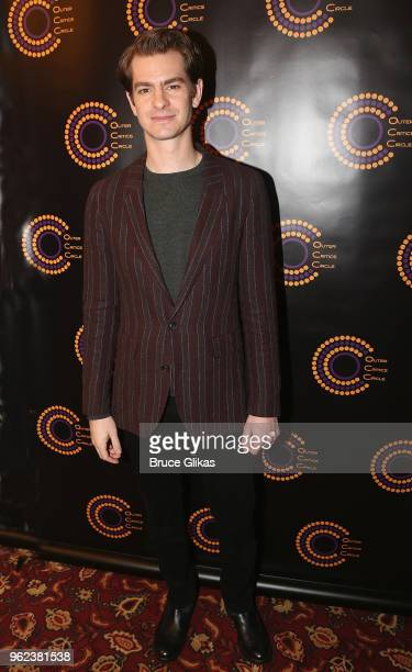 Best Actor in a Play 'Angels in America' winner Andrew Garfield poses at the 2018 Outer Critics Circle Awards at Sardi's on May 24 2018 in New York...