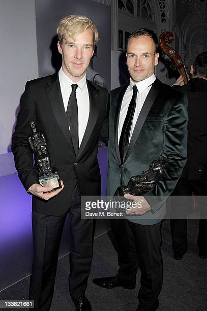 Best Actor joint winners Benedict Cumberbatch and Jonny Lee Miller attend an after party following the 57th Evening Standard Theatre Awards at The...