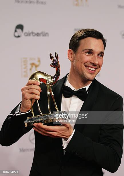 Best Actor National Florian David Fitz poses with the Bambi award at the Bambi 2010 Award Winners Board at Filmpark Babelsberg on November 11 2010 in...