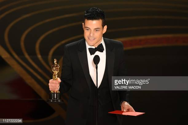 TOPSHOT Best Actor nominee for Bohemian Rhapsody Rami Malek accepts the award for Best Actor during the 91st Annual Academy Awards at the Dolby...