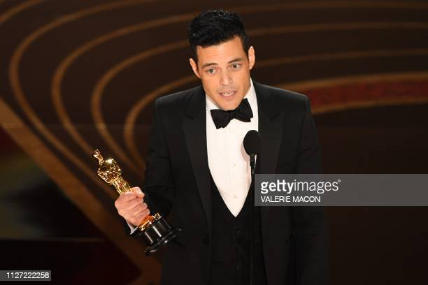 Best Actor nominee for Bohemian Rhapsody Rami Malek accepts the award for Best Actor during the 91st Annual Academy Awards at the Dolby Theatre in...