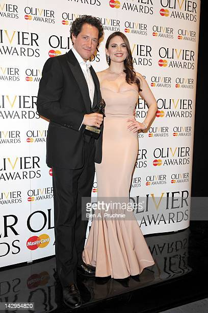Best Actor winner Bertie Carvel and Hayley Atwell pose in the press room during the 2012 Olivier Awards at The Royal Opera House on April 15 2012 in...