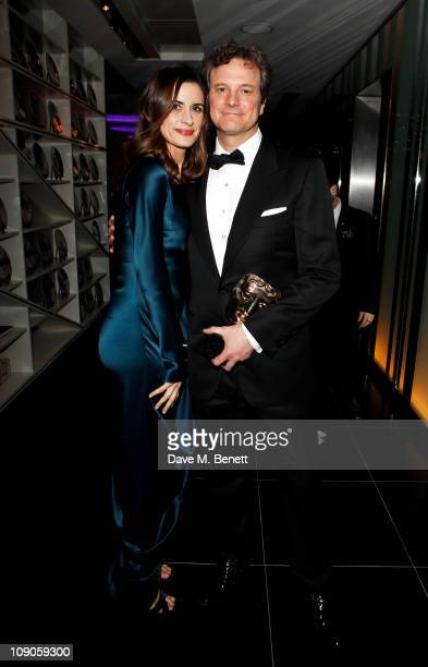 Best Actor winner Colin Firth and wife Livia Giuggioli celebrates at The Weinstein Company and Momentum Pictures' postBAFTA party held at W...