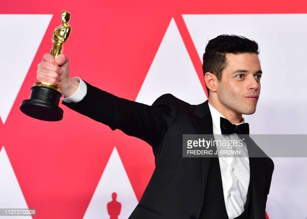 Best Actor winner for Bohemian Rhapsody Rami Malek poses in the press room during the 91st Annual Academy Awards at the Dolby Theatre in Hollywood...