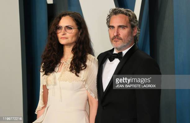 Best actor winner Joaquin Phoenix and his sister Rain Phoenix attends the 2020 Vanity Fair Oscar Party following the 92nd Oscars at The Wallis...