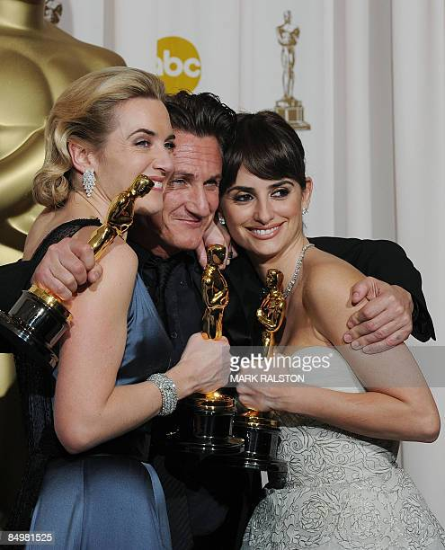 Best Actor winner Sean Penn , Best Actress winner Kate Winslet and Best Supporting Actress winner Penelope Cruz pose with their trophies at the 81st...