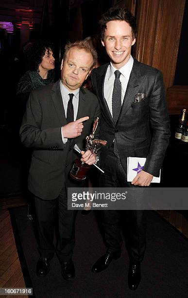 Best Actor winner Toby Jones and Eddie Redmayne attend the London Evening Standard British Film Awards supported by Moet Chandon and Chopard at the...