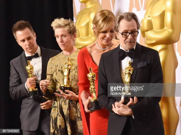 TOPSHOT Best Actress Frances McDormand Best Supporting actor Sam Rockwell Best Supporting Actress Allison Janney and Best Actor Gary Oldman leave the...