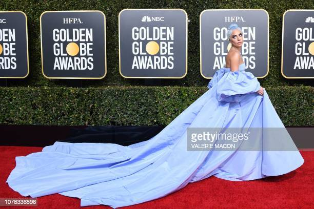 "Best Actress in a Motion Picture Drama for ""A Star is Born"" nominee Lady Gaga arrives for the 76th annual Golden Globe Awards on January 6 at the..."