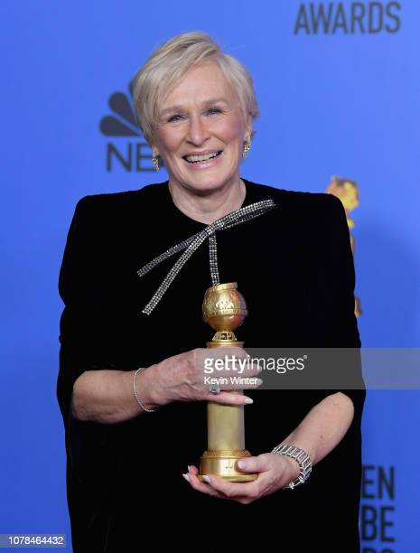 Best Actress in a Motion Picture Drama for 'The Wife' winner Glenn Close poses in the press room during the 76th Annual Golden Globe Awards at The...
